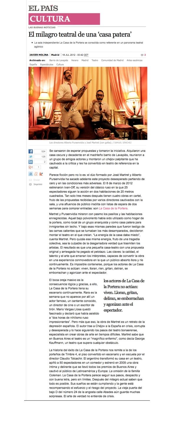 Crítica de El País - El milagro teatral de una casa patera - por Javi Molina