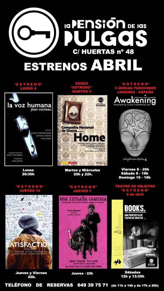 CARTELERA ESTRENOS ABRIL 2016